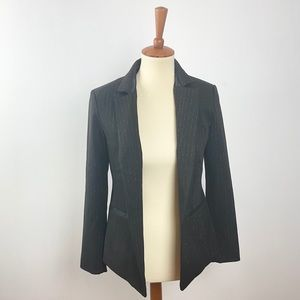 ecru Black and Silver Pin-Striped Blazer